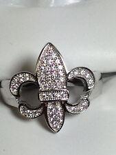 Fleur - de - Lis, Sterling Silver, Micro Pave, Cubic Zirconia Ring