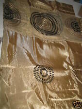 SHIMMERY MOD BLACK GOLD CIRCLES FABRIC SHOWER CURTAIN