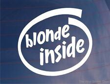 BLONDE INSIDE Funny Novelty Girly Car/Van/Window/Bumper Vinyl Sticker/Decal