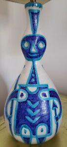 """* GUIDO GAMBONE * MID CENTURY MODERN ITALIAN POTTERY LAMP * 19"""" * WHITE & BLUE *"""