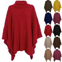 Plus Size Ladies Womens Grid Knit Wrap Polo Cowl Neck Poncho Jumper Cape Shawls