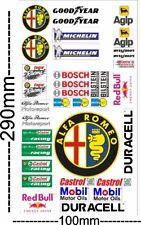 Alfa Romeo Logo Auto Model 1:8 Sponsoren Marken Aufkleber Decals Mini Set
