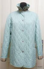 BURBERRY veste matelassée bleu vert d'eau aqua tartan quilted jacket Large