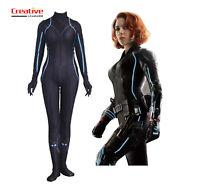 US!Avengers Natasha Black Widow Halloween Zentai Wigs Cosplay Costume Jumpsuit