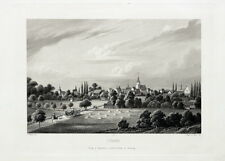 Lübben im Spreewald, Gesamtansicht. Großer, echter Stahlstich um 1860
