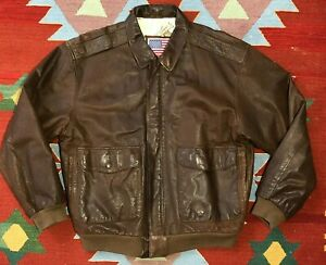 Vintage 80s US Air Force A2 Bomber Jacket Medium Brown leather