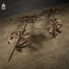 More details for pair of wrought iron lightning conductors with scroll detail