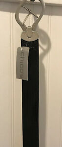 Chico's Black Wide Leather Slouch Belt LARGE Adjustable Silver Buckle NWT!