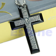 Unisex Gift Men Stainless Steel Cross Pendant Black Silver Bible Necklace