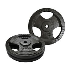 20kg x 2 - Standard 26.5mm Triple Handle Hammertone Cast Iron Weight Plate Set