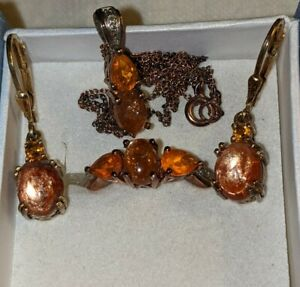 Vintage Gold Over Sterling Silver Orange Opal Necklace Earring Ring Set