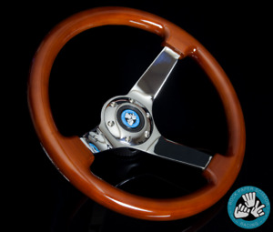 LIGHT WOOD CHROME TRIM STEERING WHEEL DEEP 6 BOLT WITH HORN BUTTON