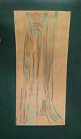 Composition abstraite 1960 signée peinture abstraction formes libres tableau