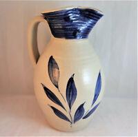 "Williamsburg Salt Glazed stoneware Pottery Cobalt Blue Leaf Pitcher 8"" Tall"