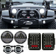 Jeep Wrangler Jk Led Headlights 7 inch+ Fog Light+Tail Light Replace Halogen HID