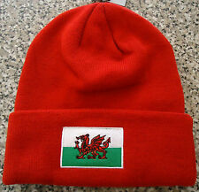WALES COUNTRY FLAG BEANIE HAT [ RED ]