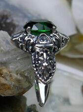 *Emerald*& Zirconia Sterling Silver Deco & Fleur de lis Filigree Ring size 5.5