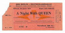 QUEEN  :  ORIGINAL 1979 LIVE KILLERS TOUR CONCERT TICKET - BERLIN GERMANY