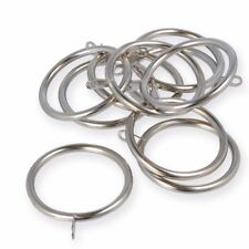 LARGE 50mm METAL FIXED EYE CURTAIN POLE ROD RINGS Chrome Silver Brass Black