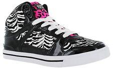 Women's 9 M Gotta Flurt Hip Hop VI 3/4 top Sneaker Black White Zebra Hot Pink 9M