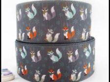 Foxes 25mm Grosgrain Ribbon 3 Meter Length Hair Bows Craft Sewing