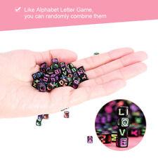 500Pcs Plastic Mixed Cube Alphabet Letter Black Beads for DIY Jewelry Making SE