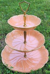 """Vintage California Pottery USA Coral Pink & Gold 3 Tier 15"""" Serving Tray T 31"""