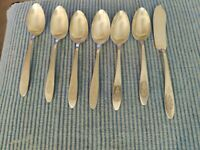 6 Oneida antique Community plate Bird Of Paradise Tea Spoons & 1 butter knife