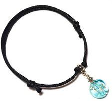 Silver Bead Foot Charm Hippy Surfer Black Cord Ankle Bracelet Adjustable Anklet