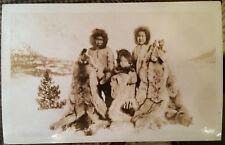 Children w Many Furs, Pelts, ESKIMO NATIVES, ALASKA, Photo Post Card