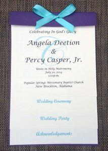 CUSTOM SAMPLE PURPLE, IVORY LAYERED WEDDING PROGRAM