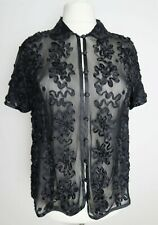 Gerry weber ladies black mesh sheer applique beaded collared boxy party top 16