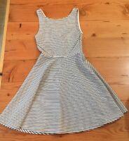 Divided Hm Womens Size 2 Black White Striped Sleeveless Skater Dress