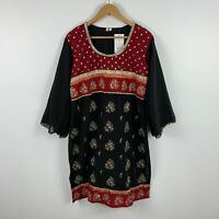 Womens Indian Dress Size 46 14-16 Multicoloured Floral Long Sleeve Diamond Beads