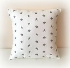 "Funky White and Grey Star Cushion Cover 16"" 100 Cotton Handmade Nursery"