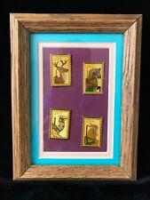 Vintage Set of 4 US Postage Stamps 1988 Enamel Carousel Animals Matted & Framed