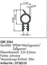 Türdichtung Gummidichtung Türprofil EPDM Kantenschutz 3,0-5,0 mm GRE 2264