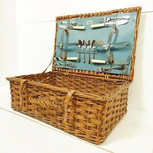 51cm Wicker Hamper Basket Picnic Cutlery Lidded Ottoman Brown Country C10T