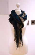 Turquoise cashmere and mohair mixed colour layered ruffle scarf with fringe