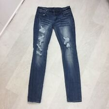 Almost Famous Womens Jeans Size 5 Skinny Destroyed Distressed Sequin Denim Jr
