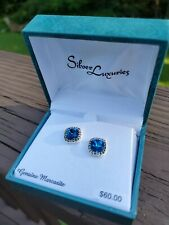 Silver Luxuries Genuine Marcasite Earrings Blue Sparkle New In Box Studs