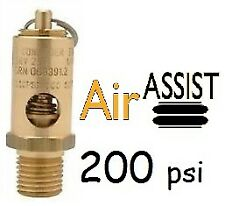 """Safety pressure relief pop off 1/4"""" valve 200 psi for compressor air tank"""