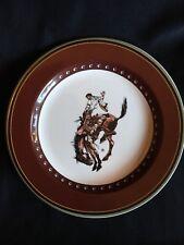 Pendleton Round up Rodeo Let 'er Buck Salad Plate Dessert Cowboy Horse Dish 4 AV