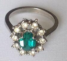 bague bijou couleur argent rodier panier cristaux diamant pierre verte T.49