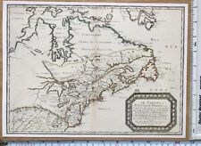 """Antique vintage old colour map Canada 1600's, 1656: 12 X 9"""" Reprint"""