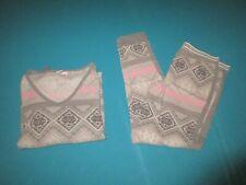 VICTORIA SECRET Womens Gray Pink Thermal PJ Pajama Set Size Medium M