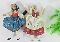"1950s Vintage Plastic Jointed European Sisters Character Girl 2Dolls 7"" New"