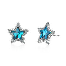 Crystal Wishing Star Ear Stud Earrings Hot Fashion 925 Sterling Silver Cute Blue
