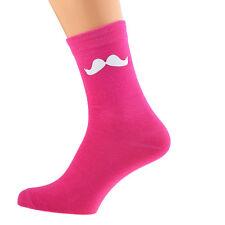 Calcetines de color de rosa caliente con bigote blanco Talla 5-12 X6N002