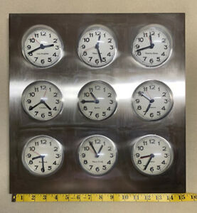 Stainless Steel Bubble World Time Zone Wall Clock 9 Cities MCM
